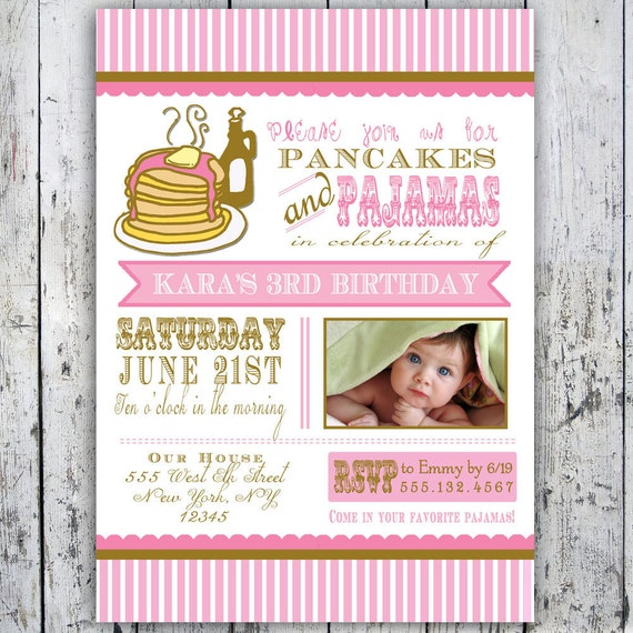 Pancakes and Pajamas Party Invitation Photo Card Printable