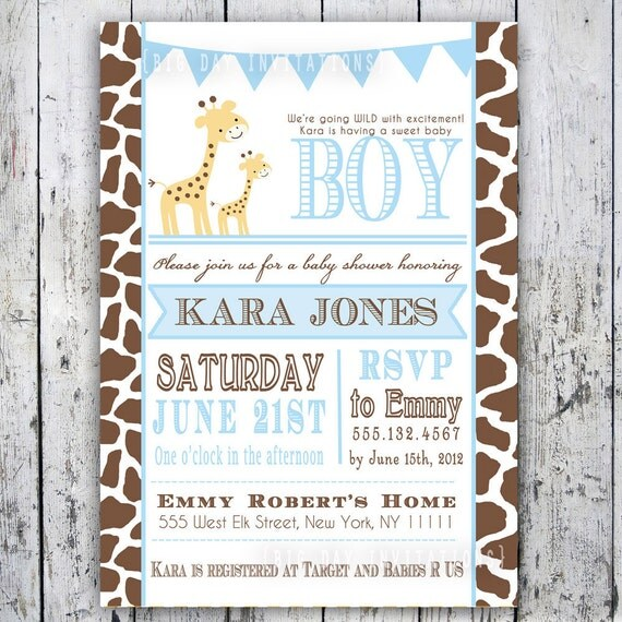 Giraffe Baby Shower Invitation Baby Sprinkle - DIY Printable File - Matching Party Printables Available