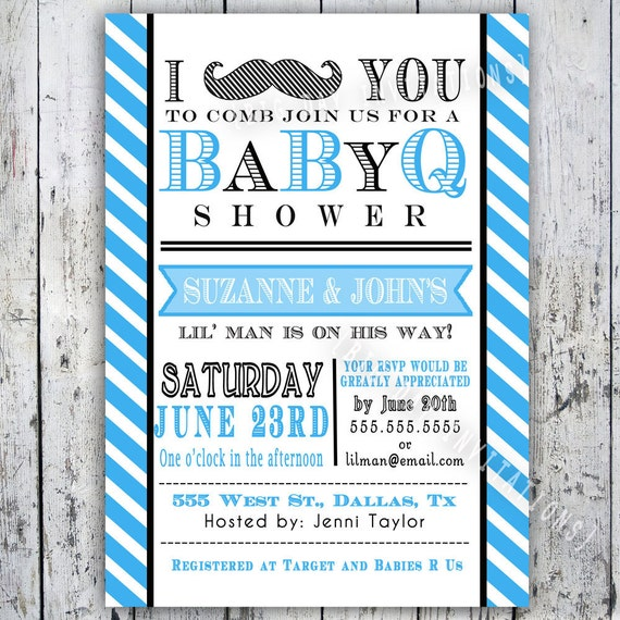 Little Man Mustache Baby Shower Insert Card for Registry or