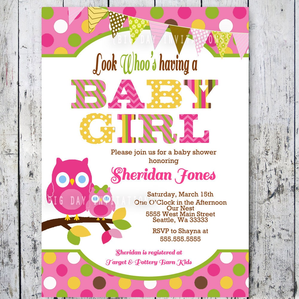 Owl Baby Shower Invitations Baby Shower By BigDayInvitations