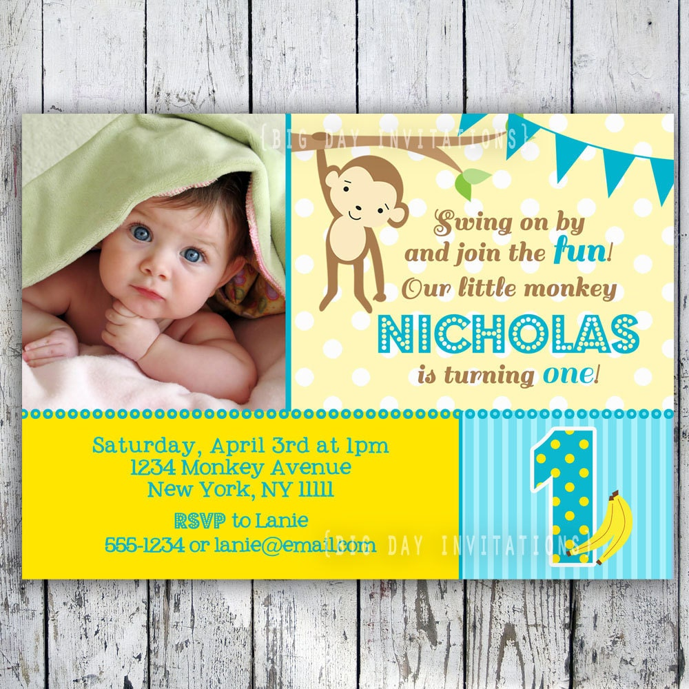 Mod Monkey Birthday Invitation 1st Birthday Polka Dot Birthday
