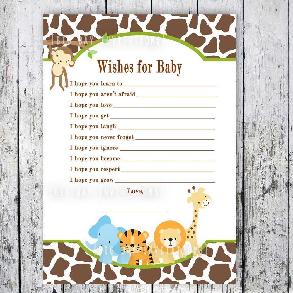 safari baby shower game wishes for baby printable file