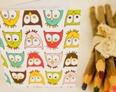 Vibrant Owls - handbound notebook