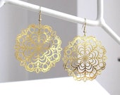Circle Lace - Laser Cut Earrings in Gold