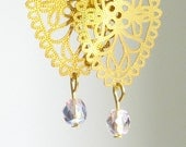 Reserved for missbeccam - Gold Brass Kite Shape Lace Earrings