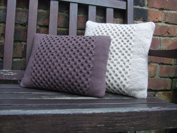 Hand knitted brown honeycomb pillow (cushion)