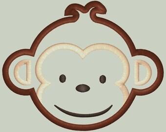 MOD Monkey look alike Boy Monkey Face Applique Design FIVE SIZES