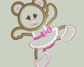 Ballerina Bear Machine Embroidery Applique Design