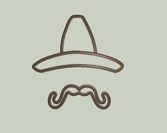 Mustache and Hat Applique Design