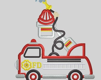 Firetruck Applique Embroidery Design