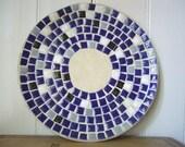Vintage Mid Century Blue and White Mosaic Tile Round Serving Plate Dish Tray Platter - Retro Eames Atomic Age Mad Men Era Decor