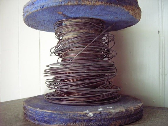 Vintage wood spool with heavy gauge copper wire - rustic large industrial size spool with gorgeous indigo / cobalt worn shabby paint finish