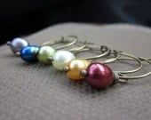 Freshwater Pearl Beaded Wine Glass Charms, Colorful and Festive, Set of 6