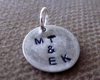 Personalized Silver Couples Charm , Stamped Custom Lovebirds Initials Disc 12mm