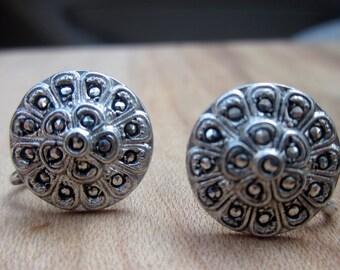 Vintage Marcasite Fleur Earrings, Sterling Screw Backs