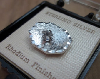 Sterling Silver Tie Tac Pin with center Rhinestone