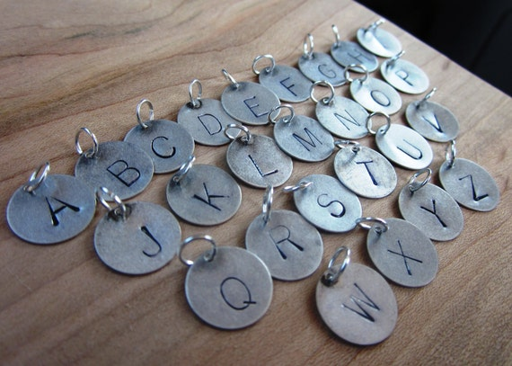 RESERVED for Hali, Personalized Silver Letter Charm , Stamped Custom Initials Disc 12mm
