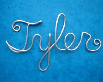 Custom aluminum sign-wire words and names