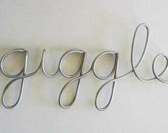 giggle aluminum metal sign