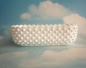 Hobnail Planter, Vintage Fenton, Milk Glass, White, Scalloped Rim