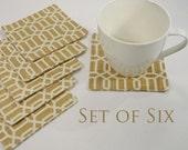 "Set of 6 Fabric Coasters Beige Trellis Linen 5"" Square"