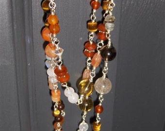 Eleanor - necklace, citrine, carnelian, tiger eye, rutilated, tourmalated, and smokey quartz, sunstone, botswana agate, rainbow moonstone