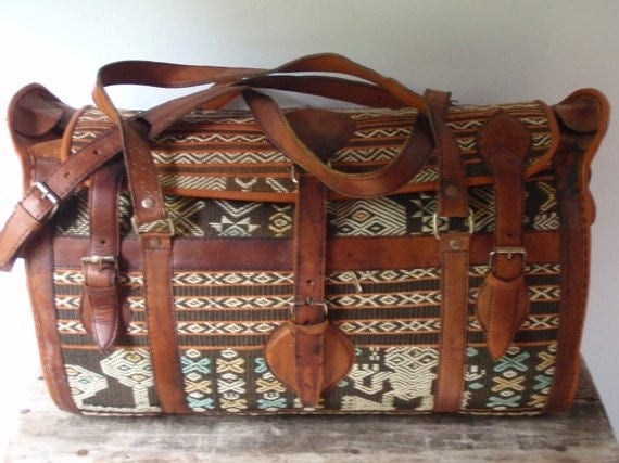 Leather Mediterranean Overnight Luggage Bag