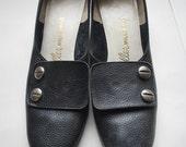 A Screw is Loose .Vintage Black leather Pilgrim Buckle Heels for the heavy metal 1960s priss .J.Miller Millerkins sz 7