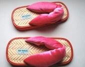 Ranch Bunny Aspiring to be a Geisha footwear .flip flops .Pink .silver glitter flecks .Velveteen .Fat Rolls 11