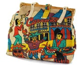 Mardi Party: Burlap handbag .boho purse .cotton straps .Carnival .New Orleans scene .Structured Folky Elegance