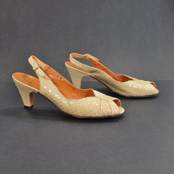 Whitesnake Wedding .vintage peeptoe serpent flesh slingbacks .L. Bruner -womens size 5.5- tricked out tea party