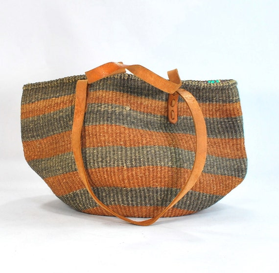 RESERVED.Boho Sisal Purse .1980s vintage African bag .leather straps .Gorgeous earthtones