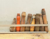 8 salvaged vintage wooden hand tool handles