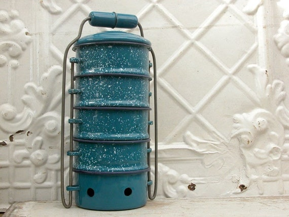 vintage enamel ware stacking lunch pail tiffin