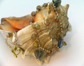 Smokey Czech Glass Hearts Necklace