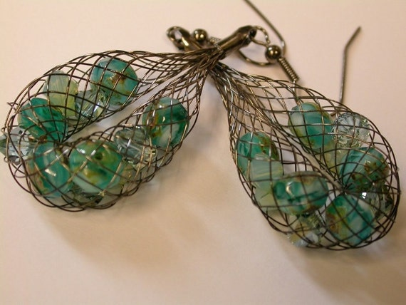 Mesh Drop Earrings with Green Czech Glass Beads