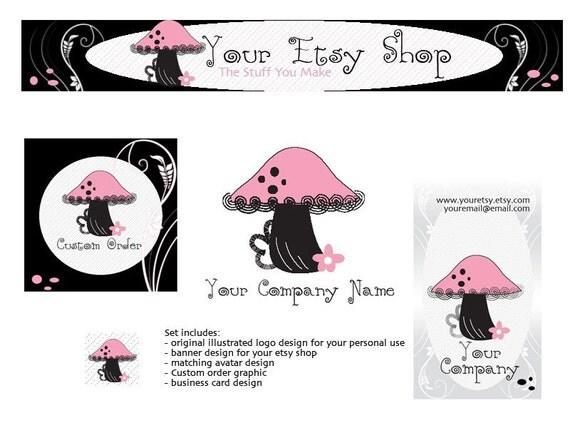 Happy Mushroom Etsy Shop Set ...for Retro, Vintage, Clothing, Accessories, Home Decor