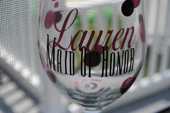 Custom Wedding Party Wine Glass In Your Wedding Colors