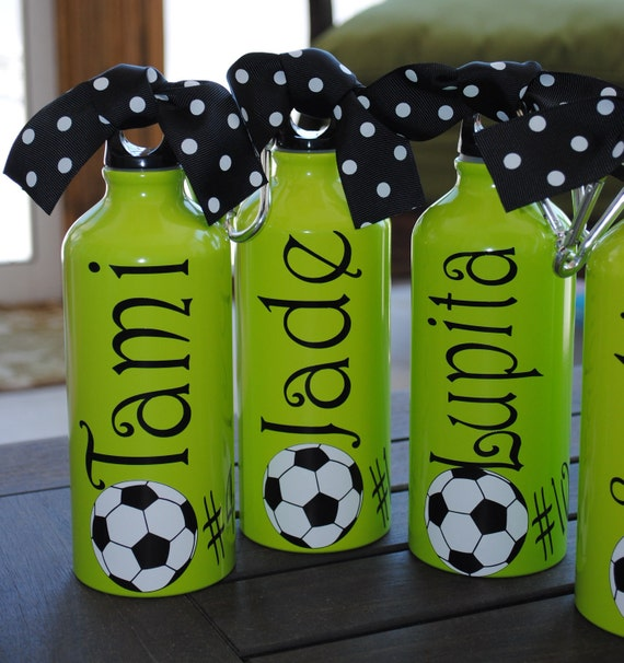 Aluminum Water Bottle Soccer Baseball Basketball Tennis Dance Gymnastics Team Theme   Your Team Colors   Any Sport Can Be Done