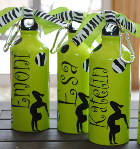 Gymnastics, Cheer Or Dance And Zebra Polka Dot Aluminum Water Bottle
