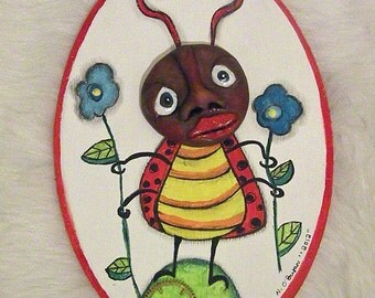 Growing Flowers an OOAK Ladybug Wall Beauty