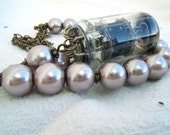 Necklace Vacuum Tube and Dusty Pink Glass Pearls THE LADY
