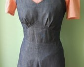 1940s 40s vintage style navy cotton denim overalls  CUSTOM MADE