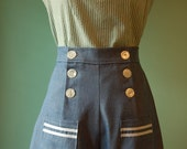 1930's 1940's vintage style light  blue denim sailor pants CUSTOM
