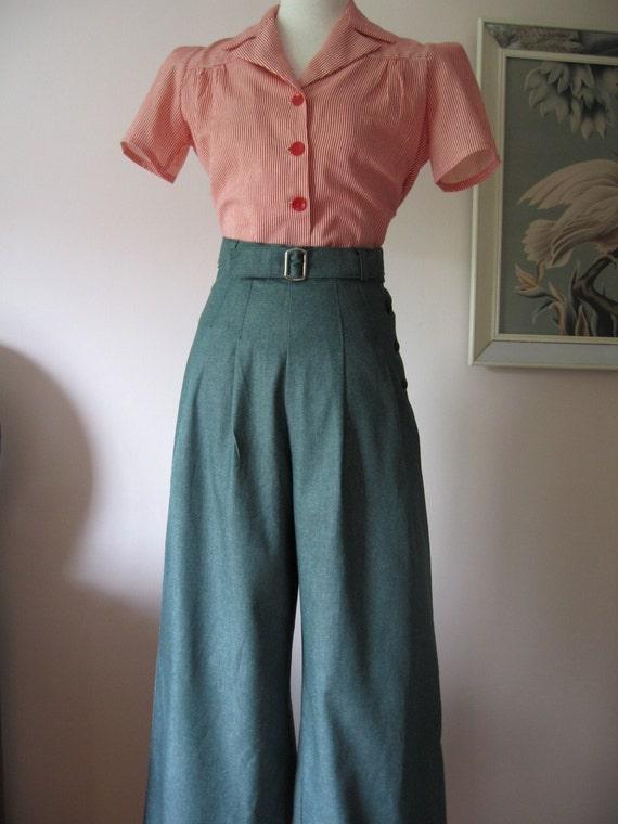 1940s Style Dresses Fashion Clothing: 1930's 1940's VINTAGE STYLE GREEN DENIM WIDE LEG PANTS