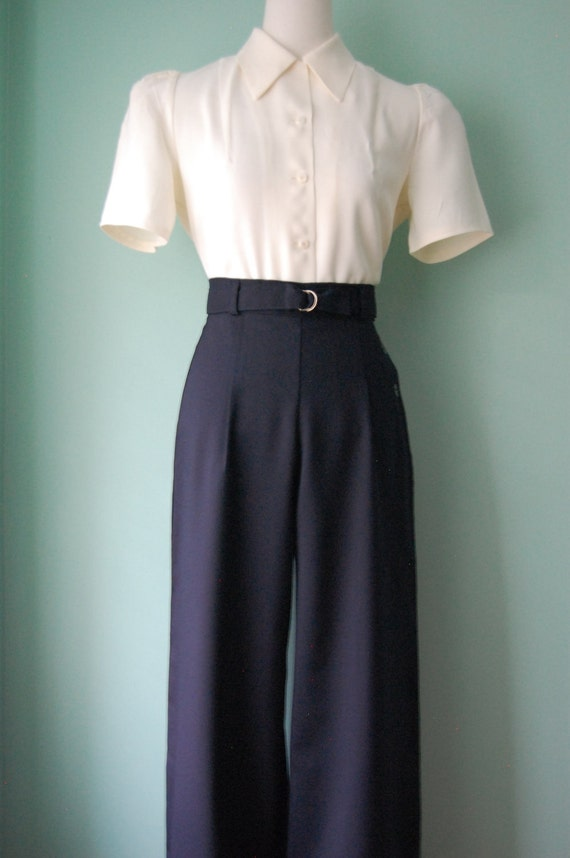 1940s Style Pants & Overalls- Wide Leg, High Waist 1930s 1940s  belted wide leg   grey wool slacks     custom made for your size $128.00 AT vintagedancer.com