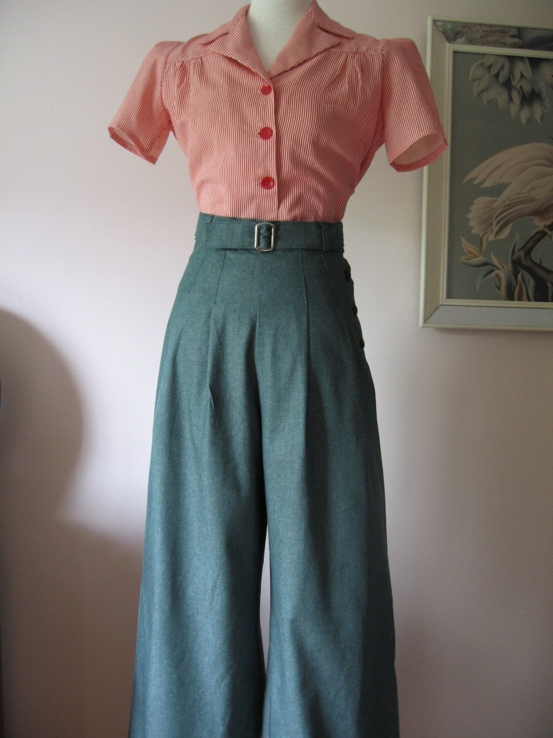 1930 s 1940 s vintage style green denim by