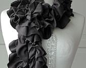 Earthy Brown PETAL ruffle scarf