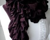 AW11 Deep purple DOUBLE RUFFLE scarf