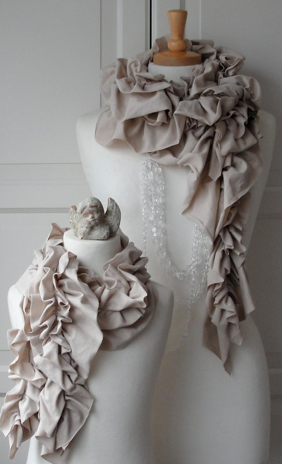 Mommy and Me - Duo of ruffle scarves - Stone